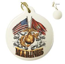USMC Double Flag Gold Globe Marines Corp - Christmas Xmas Tree Porcelain Ornamen