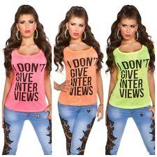 Maglia donna maglietta t-shirt maniche corte  vari colori neon nuova moda estate