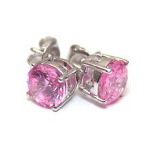 Diamond-unico Zaffiro Rosa 2ct solitario Oro Massiccio Orecchini A Perno 9ct