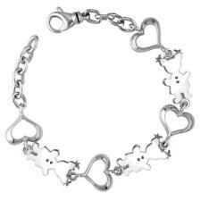 Classic Kids Sterling Silver Heart Charm Bracelet, 3 Girls