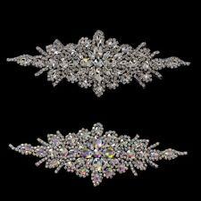 Silver Rhinestone Diamante Motif Sewing Applique Patch for Wedding Bridal Dress