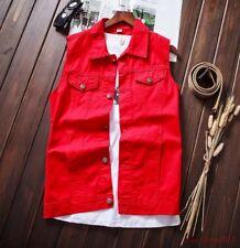 Men Paragraph Casual New Denim Vest Sleeveless Short Jacket Retro Coat Chic AU X