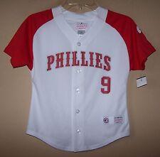 Boy's White Red PHILADELPHIA PHILLIES Baseball Jersey Shirt MLB #9 Domonic Brown