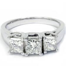 1 1/2ct 3-Stone Princess Cut Diamond Engagement Ring 14K White Gold