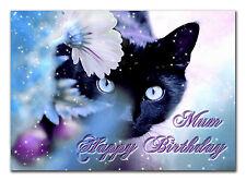 C060; Grande Personalizzato Compleanno Carta; su misura per qualsiasi nome; Black Cat