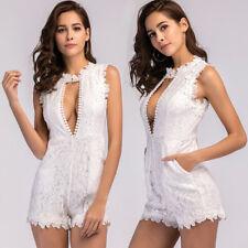 Elegante abito mini bianco pizzo pantaloni corto slim aderente scollato 4104