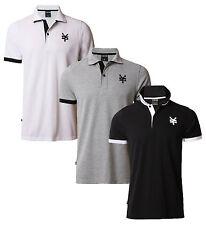 ZOO YORK Casual Cotone Stampato Polo Piqué T-Shirt Top Nuovo Nero Bianco Grigio