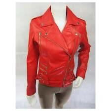 Ladies Red Napa Leather Stud Zip Slim Tight Fitted Short Biker Jacket Bike