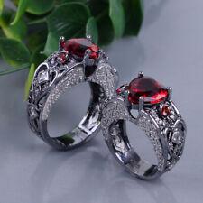 Heart Shape Ruby Garnet Black Gold Filled Angel Wings Band Ring Size 6-10