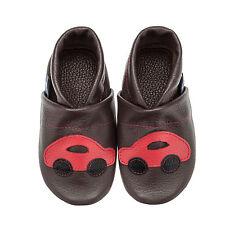 Pantau Leder Krabbelschuhe Hausschuhe Lederpuschen Dunkelbraun mit rotem Auto