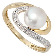 anillo mujer, Perla Cultivada & Diamantes brillantes oro 585 , oro amarillo,