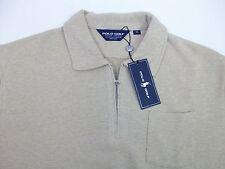 Polo Golf Ralph Lauren Tan 1/2 Half-Zip Collared Cotton Sweater Pocket  $175 NWT
