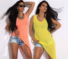By Alina Damentop Tunika Damenshirt Longshirt  Bluse Strandkleid Neon XS-M