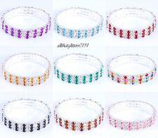 Stunning 3 Row 2 Tone Crystal Bracelet Silver Gilt