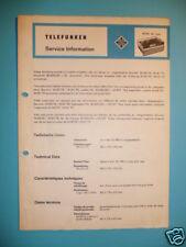 Service Manual Telefunken M 201 de Luxe Reel to reel ORIGINA