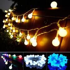 Mains Plug In Garden 100 LED Globe Bauble Balls Fairy String Lights Xmas Festoon