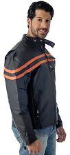 REED MENS VENTED MOTORCYCLE LEATHER JACKET - Black / Orange - Brand New wTags