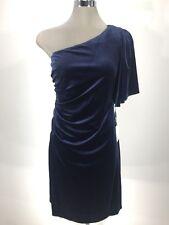 Calvin Klein NWT Modern NAVY BLUE Velvet Ruffled One shoulder Dress,size 12