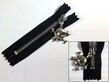 Zip, Zipper, Large Skull Puller, Closed End, Metal, YKK, Black