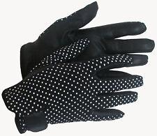 New Ladies Polka Dot Black Leather Palm Horse Riding Gloves Small Medium Lg