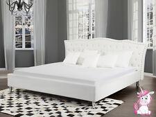 Barroco Cama unicornio de piel blanco con pedrería Somier Cajas Para Cuero