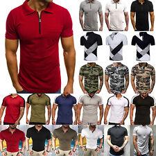 Mens Short Sleeve Polo Shirts Casual Slim Fit Golf Top Summer T-shirt Tee Blouse