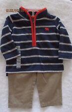 Carter's 1/2 Zip Pullover Fleece Shirt & Canvas Pants Set Boy's Sz 6M & 3T NWT