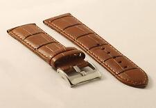 Uhrenarmband Krokoprägung-Braun-24mm-Watchstrap-CrocoGrain-Genuine Leather-tan