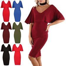 Womens Off Shoulder V Neck Double Layer Ruffle Frill Bandage Bodycon Midi Dress