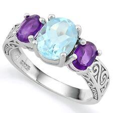 Damen Ring Rahel, 925er Silber, 4,039 Kt. echter Blautopas/Amethyst