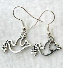 Dangle earrings - 'peace' dove, bright silver colour