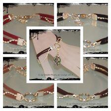 ♥ Dream-Pearls Armband Bettelarmband Charmträger Wildleder Veloursleder 19+3cm ♥