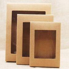 DIY Paper Box With Window Black White Kraft Paper Gift Box Cake Packaging 20pcs