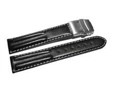 Uhrenarmband mit Faltschließe - Leder - Doppelpolster - schwarz - 18,20,22,24 mm