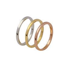Plata esterlina 925 chapado en oro fino liso altura media chic anillo apilable