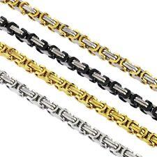 φ5mm Collar Cadena Collar Bizantino Plata Negro Oro Acero NUEVO