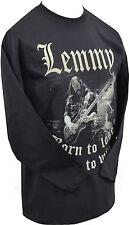 MENS LONG SLEEVE BLACK T-SHIRT IAN LEMMY KILMISTER ROCK METAL BORN TO LOSE S-5XL