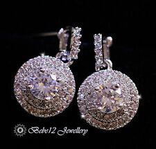 Simulated Diamond Round Drop Earring/Wedding/Bridal/RGE647
