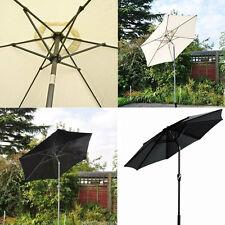 2m Aluminium Parasol Garden Patio Lightweight Umbrella Wind Up Tilt Cream/Black