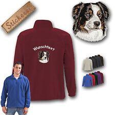 Kuschelige Fleecejacke Jacke Rücken Stickerei Australian Shepherd + Wunschtext