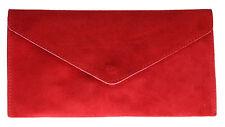 Ante y cuero genuino italiano Flat Envelope embrague Bag Pulsera De Oro Rosa Bolso De Mano