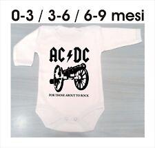 new body m/l neonato BABY T-Shirt unisex logo AC DC ROCK idea regalo 3-6-9 mesi
