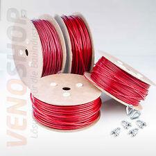 ROT: STAHLSEIL PVC SET: 2 Kauschen 4 Klemmen Seil Seile Drahtseil ummantelt