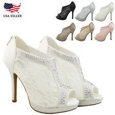 New Women's Bridal Lace Bootie Open Toe High Heel Platform Dress Wedding Shoes