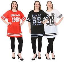 New Womens Baseball Print Stripe Air Tech Varsity Baggy T-Shirt Tops 8-26