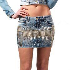 DISHE Handmade Rock Damenrock Jeansrock Jeans Nietenrock Minirock  34 36 38 #D3