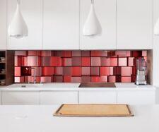 adesivo parete 3D effetto Rosso Mosaico QUADRATI motivo COLONNA LAMINA 22a202