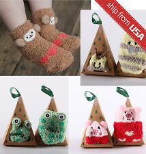 Japan Cute Newborn Socks Baby Girl Anti-slip Warm fleece Animal Slipper 1-4 year