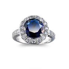 Handmade Jewelry Round London Blue Topaz White Topaz Silver Ring US Size 6-10