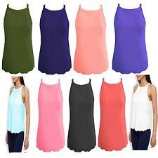 Ladies Strap Halter Neck Sleeveless Scallop Edge Women Crepe Cami Vest Top Shirt